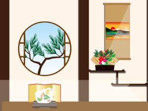 梅盆栽を飾るイメージ