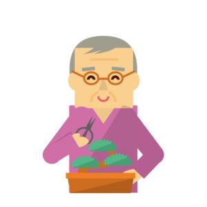 盆栽をする人